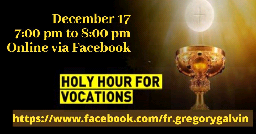 December Holy Hour- Important Change in Time and Venue